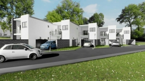 Proyecto 'L' de casas adosadas con patio o jardín – rendering realizado con Edificius