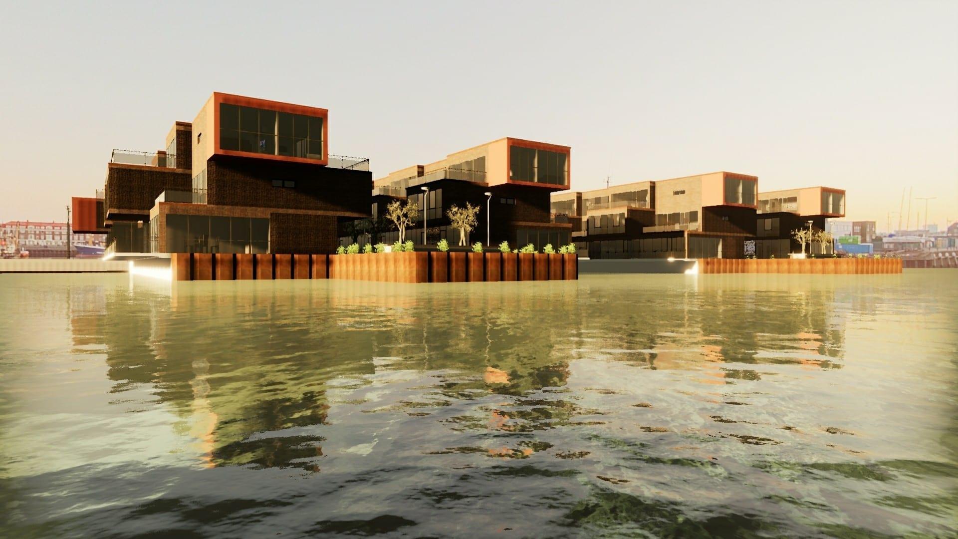 Render de las Water Villas realizado con Edificius