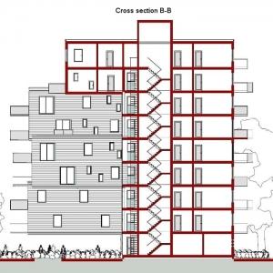 Sección B-B – WoZoCo Apartamentos