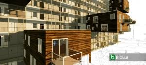 Vivienda social: diseño inspirado a Wozoco – render realizado con Edificius