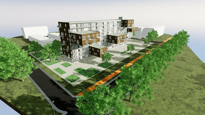 Vivienda social diseño inspirado a Wozoco – render realizado con Edificius