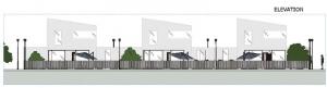 Proyecto 'A' de casas adosadas con patio o jardín – alzado