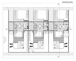 Proyecto 'A' de casas adosadas con patio o jardín – planta del plano tierra – general