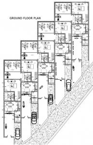 Proyecto 'L' de casas adosadas con patio o jardín – planta de la planta baja – general