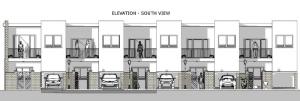 proyecto 'L' de casas adosadas con patio o jardín – alzado