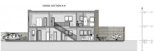 Proyecto 'L' de casas adosadas con patio o jardín – sección A-A