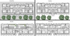 Casas en línea – Milán – Planos de: planta baja, primero, segundo y tercer piso
