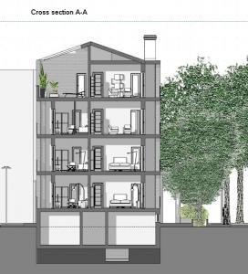 Casas en línea – Milán – Sección A-A