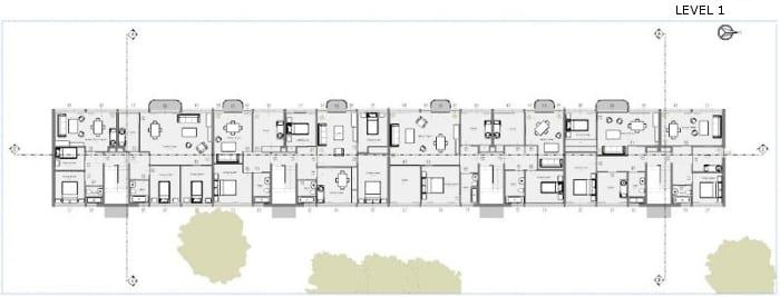 Casa en línea – Weissenhof – Stuttgart – Mies van der Rohe – Planta general del Primer Nivel
