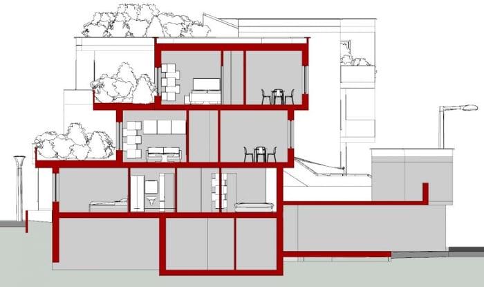 casas en línea Villaggio Matteotti – De Carlo – Sección