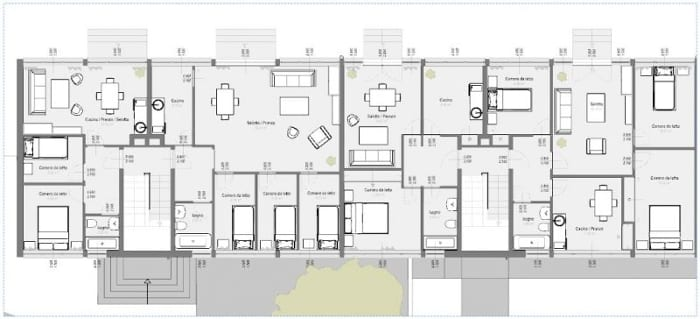 casas en línea – Weissenhof – Stuttgart – Mies van der Rohe – Plano de apartamentos en Planta Baja