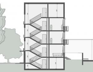 Casas en línea– Weissenhof – Stuttgart – Mies van der Rohe – Sección