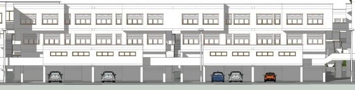 casas en línea Villaggio Matteotti – De Carlo – Alzado