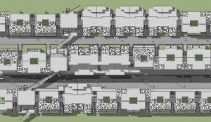casas en línea Villaggio Matteotti – De Carlo – Planimetría