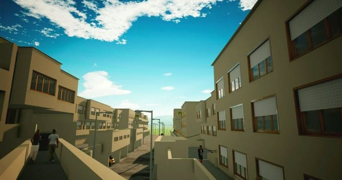 casas en línea – Villaggio Matteotti, obra de Giancarlo De Carlo – Rendering