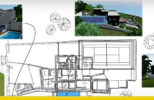 Proyecto de vivienda unifamiliar de dos pisos con DWG para descargar