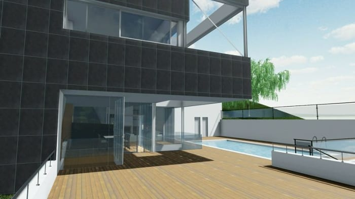 Vivienda unifamiliar de dos pisos - piscina - render software BIM Edificius