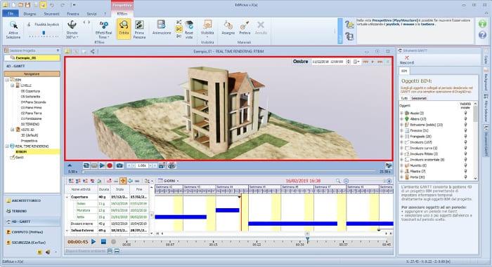 """Ambiente 4D-Gantt: vista del modelo """"animado"""" en el RTBIM"""