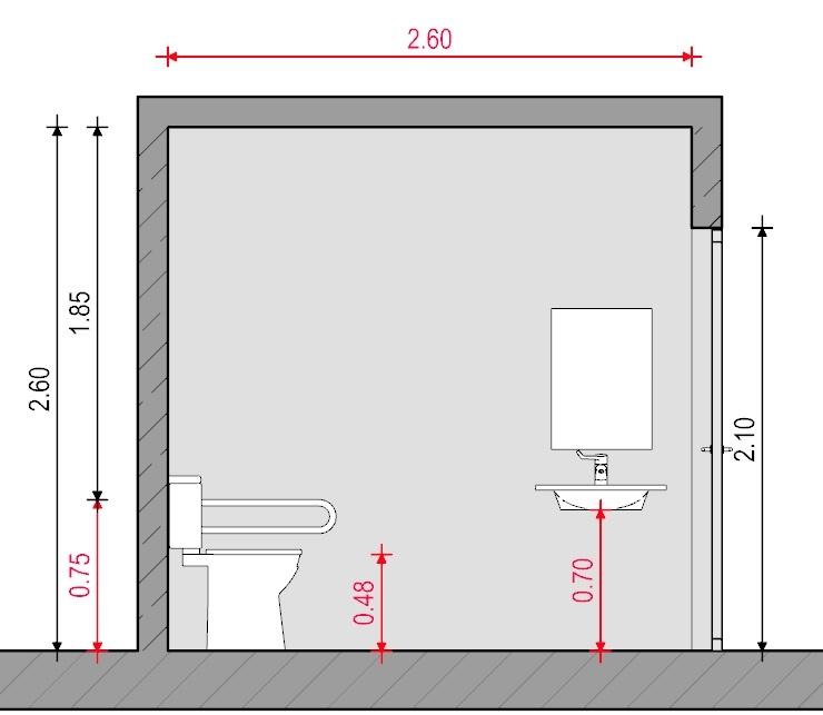Baño para discapacitados - Normativa Chilena - Sección B-B' Edificius