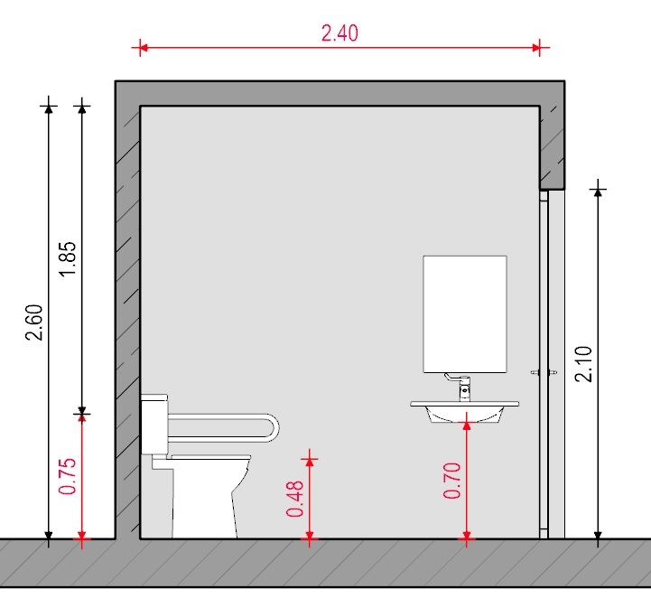 Baño para discapacitados - Normativa Chilena - Sección A-A' Edificius