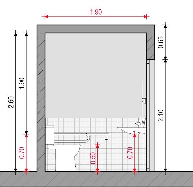 Baño para discapacitados - Normativa Española - Sección A-A' Edificius