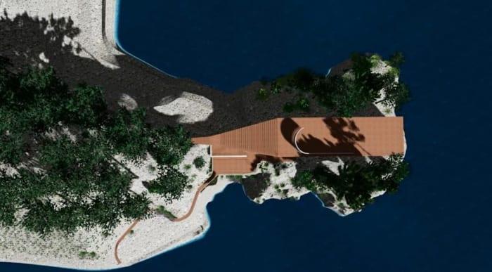 Casa Malaparte – rendering aéreo realizado con Edificius