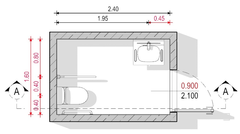 Ejemplo 1 de baño para discapacitados - Normativa Chilena - Planta Edificius