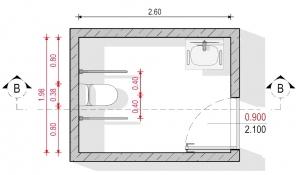 Ejemplo 2 de baño para discapacitados - Normativa Chilena - Planta Edificius