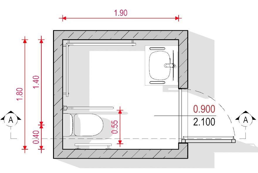 Baño para discapacitados - normativa Española - Planta Edificius