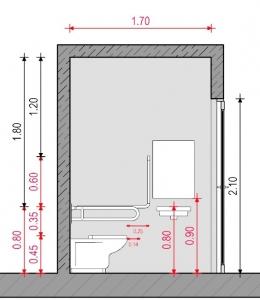 Baño para discapacitados - Normativa Mexicana - Sección A-A' Edificius