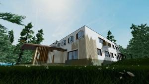 Villa Mairea - Alvar Aalto -entrada - render - software BIM Edificius