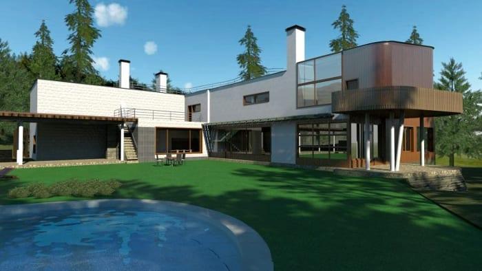 Villa Mairea - Alvar Aalto - jardin - render - software BIM Edificius