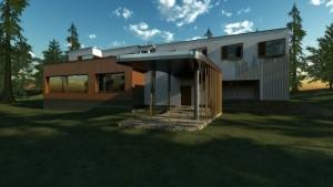 Villa Mairea - Alvar Aalto -marquesina - render - software BIM Edificius