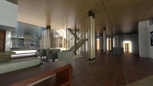 Villa Mairea - Alvar Aalto -sala de estar - render - software BIM Edificius