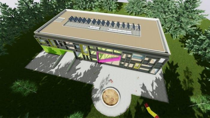 Vista aerea_proyectos-edificios-educacionales-Troplo-Kids_render_software-BIM-arquitectura_Edificius