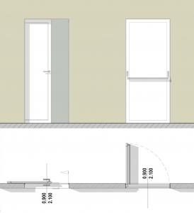 Tipos de puertas de baños para discapacitados - Alzado y Planta Edificius