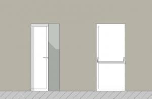 Tipos de puertas de baños para discapacitados - Alzado Edificius