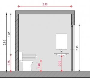 Baño para discapacitados - Normativa Chilena - Sección Ejemplo 1 Edificius