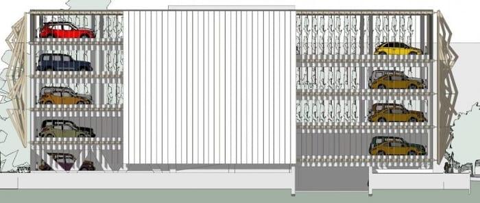 Alzado-Sur_Diseño-aparcamientos-DWG_software-BIM-arquitectura-Edificius