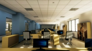 Falso-techo-registrable-placas-render-interior-oficina-Edificius-software-BIM-arquitectura