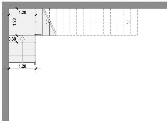 planta escalera en L- realizada con Edificius software BIM arquitectura