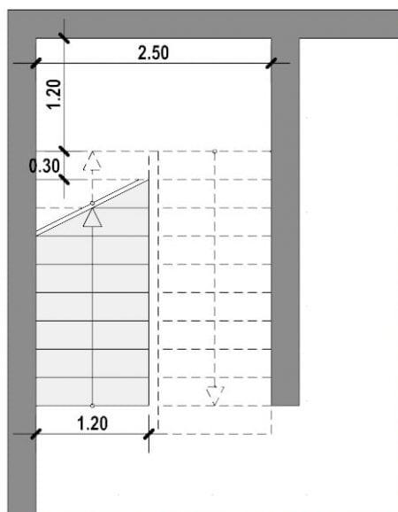 planta escalera en U - realizada con Edificius software BIM arquitectura