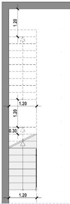 planta escalera lineal- realizada con Edificius software BIM arquitectura