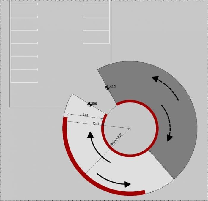 planta de la rampa helicoidal bidireccional - proyecto rampa de garaje - realizado con Edificius - software BIM arquitectura