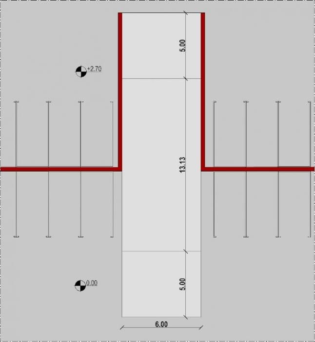 planta rampa lineal - proyecto rampa de garaje - realizado con Edificius - software BIM arquitectura