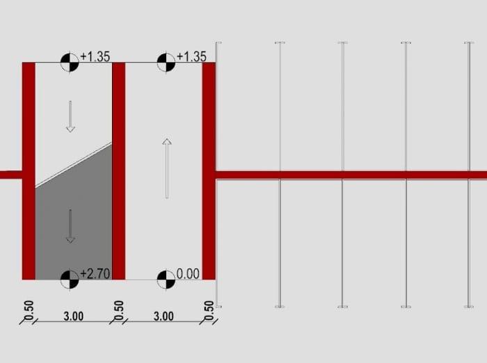 planta rampas desfasadas - proyecto rampa de garaje - realizado con Edificus - software BIM arquitectura