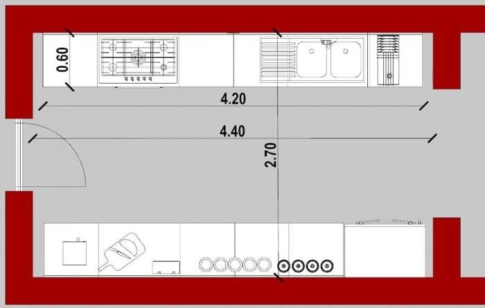 planta 2D de cocina lineal doble realizada con Edificius, software de diseño arquitectónico BIM