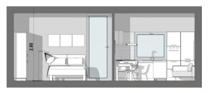 Planos-de-apartamentos-de-dos-ambientes-40-mq-seccion-a-a-software-bim-arquitectura-edificius