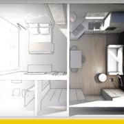 Planos de apartamentos de dos ambientes: criterios estándares y ejemplos