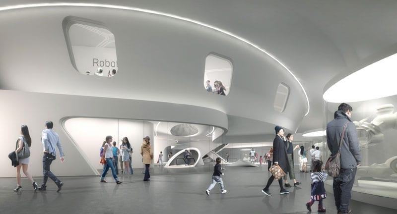 robotica-en-la-construcción on-nuevo-museo-cienza-Seoul-construido por-robot-render